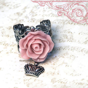 Thistle Pink Rose Ring. Adjustable Ring. Crown Charm. Charm Ring by Liz Hutnick on Etsy