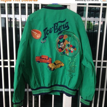 sale 25% Vintage 90s Iceberg X Disney bomber jacket full zipper embroidery design
