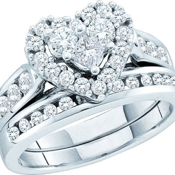 14kt White Gold Womens Princess Round Diamond Heart Bridal Wedding Engagement Ring Band Set 1.00 Cttw 52553