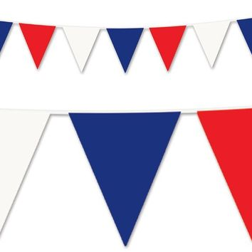 Red, White & Blue Pennant Banner - All-Weather #BWR00 - CASE OF 12
