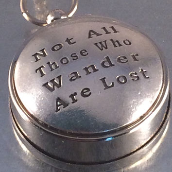 Not All Those Who Wander Are Lost Working Compass, Open Face Compass, Compass, Travel Gift