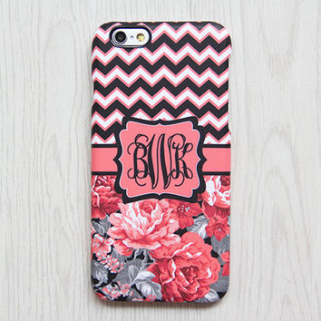 Red Roses Chevron Monogram iPhone 6 Case iPhone 6 plus Case Custom Initial iPhone 5S Case iPhone 5C Case Floral Galaxy S6 S5 Case 065