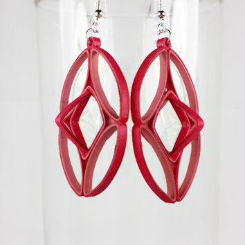 Red Paper Quilled Earrings, Large Geometric - paper quilling earrings, paper quilled jewelry, red earrings, large earrings, art deco jewelry