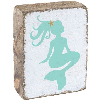 Lil' Mermaid | Wood Block Sitter | 6-in