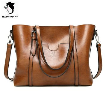 HANSOMFY Women Bags Patent Leather Vintage Shoulder Bags PU Tote Brand Zipper Solid  Female Ladies Handbag Womens Retro Satchels