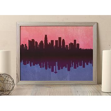 LA Skyline Art Poster Seattle Skyline Art Print Poster  Design no frame 20x30 Large