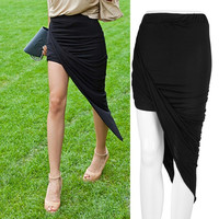 Draped Asymmetrical High Waisted Stretch Bodycon Low Mini Maxi Skirts New = 1946367940