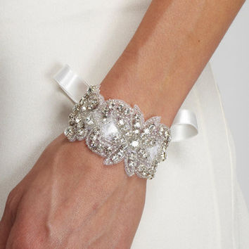 SAMANTHA -  Rhinestone Beaded Bracelet - Tulle ties, crystal, bridesmaid gift, cuff, bridal, wedding, jewelry