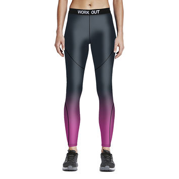 3D Print Sporting Leggings Women Work Out Rose Red Gradient Color Fitness Leggings Elastic Waist Clothes Tayt Fitness Legging