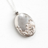 Antique Sterling Silver Flower Repousse Pendant Necklace- Early 1900s Edwardian Art Nouveau Floral Jewelry