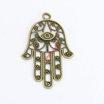 DCCKKFQ Antique Bronze Plated Evil Bl Eye Hamsa Hand Charms Pendants for Necklace Bracelets Jewelry Making DIY Craft Handmade 42x28mm