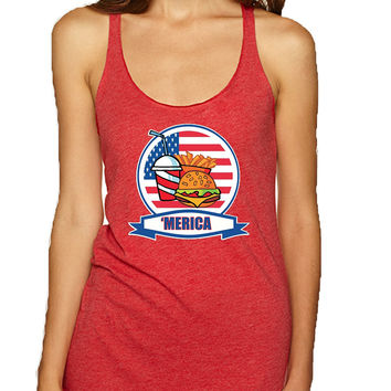 Women's Tank Top Fast Food 'merica Love USA 4th Of July Top
