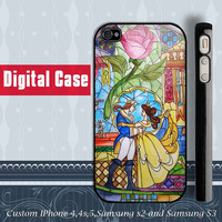 Beauty And The Beast stained glass iphone 4 case, iphone 5 case, samsung Galaxy S3 case , samsung galaxy s2 case