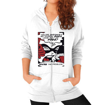 Harley Quinn My Puddin Does Love Me Zip Hoodie (on woman) Shirt