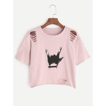 Gesture Print Ripped Crop T-shirt