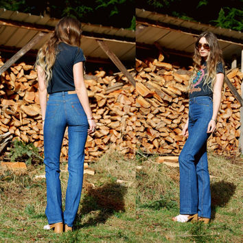 RESERVED High Waisted Levis Jeans 26 Waist Orange Tab Levi Jeans Dark Wash Long 70s Flare Jeans, Hippie Bellbottom Pants, Charlies Angels