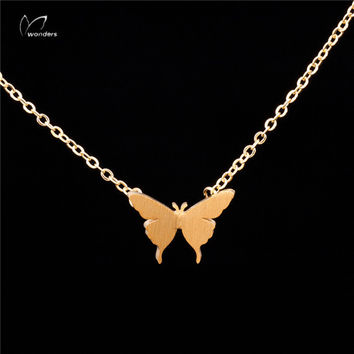 N00149 Boho Jewelry Butterfly Necklace Lady Chic Long Statement Necklace for Women Butterfly Pendant Necklace Fashion Jewelry