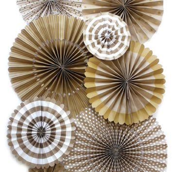 Party Fans | Pom Wheel | Rosettes | Paper Medallions | Gold Decor For Weddings, Birthdays or Parties | Gold Pinwheel Backdrop