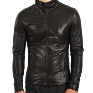Black leather jacket with high neck pullover