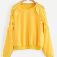Fashion Round Neck Long Sleeve Solid Color Flounce Hem Sweatshirt - NOVASHE.com