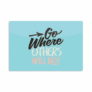"""Juan Paolo """"Go Where Others Will Not"""" Vintage Blue Aluminum Artistic Magnet"""