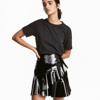 Flounced Patent Skirt - from H&M