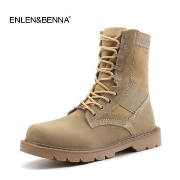 2017 Genuine Leather Tactical Men's Combat Boots Desert Boots For Men Military Flat Suede Boots Stitching Canvas Botas Militares