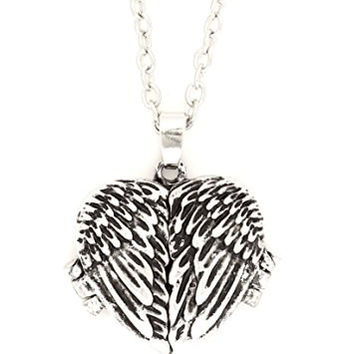 Angel Wings Heart Locket Necklace Vintage Antique Silver Tone Pendant NQ65 Fashion Jewelry