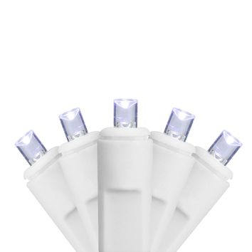 Set of 70 Cool White LED Twinkling Commercial Wide Angle Icicle Christmas Lights - White Wire