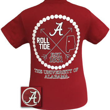 Alabama Crimson Tide Arrow Pearls State Girlie Bright T Shirt