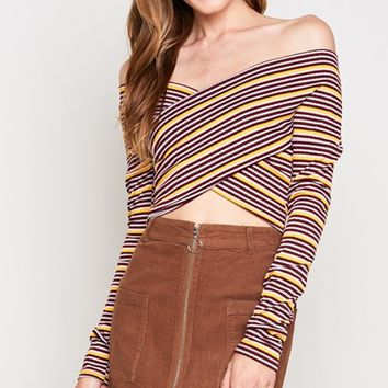 Teen Spirit Stripe Pattern Long Sleeve Cross Wrap V Neck Off The Shoulder Crop Top - 3 Colors Available