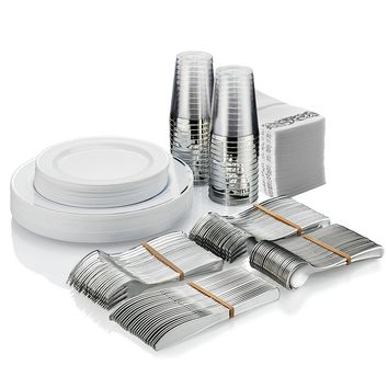 BloominGoods Full Disposable Plastic Tableware Set - 25 Guests - 225 Pcs - Party & wedding - Guest Towels, Silver-Look Forks, Spoons and Knives, Silver Rimmed Dinner & Dessert Plates & Tumblers