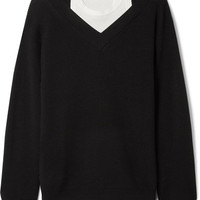 T by Alexander Wang - Off-the-shoulder layered ribbed merino wool-blend and cotton sweater