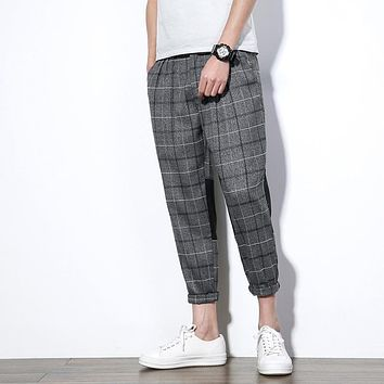 YINOS Grey Plaid Stripes Patch Man Radish Pants Male Trousers Brasthable Homme Casual Harem Slim Loose Casual Fashion Pants 2017