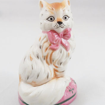 "The Franklin Mint Staffordshire Cat 3"" Tall, 1986 Curio Cabinet Staffordshire Ceramic Cat, The Franklin Mint Cat Collectibles"