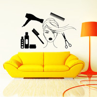 Wall Decal Fashion Beauty Salon Cosmetics Face Girl Woman Long Hair Design Decals Wedding Hair Salon Hairdressing Living Room Decor Art 3773