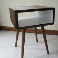 Mid Century Inspired Night Stand.  Painted Interior Solid Wood Side Table, Plant Stand, Small Space Modern Table