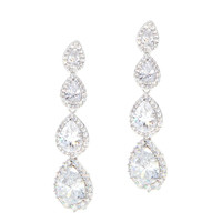 Dear Deer White Gold Plated Classic 4 Pear-Shaped Drop Pierced CZ Long Earrings