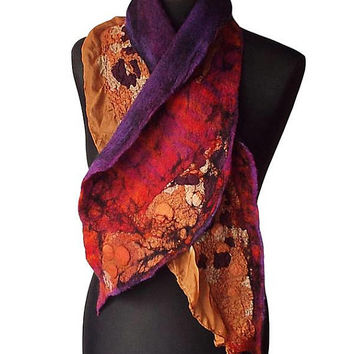 Nuno Felted Collar Nuno Felted Scarf Hand Felted Shawl Art to wear Neck Warmer collar Women's Gift Wool collar Felted Silk scarf OOAK