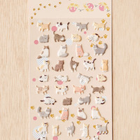 Cat Puffy Stickers Set - Urban Outfitters