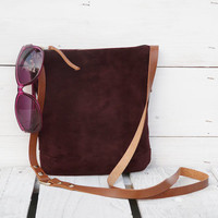 Suede leather ruby-brown small crossbody bag Purse Clutch