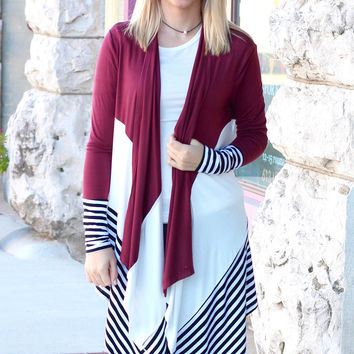 Color Block Stripe Open Cardigan {Burgundy Mix}