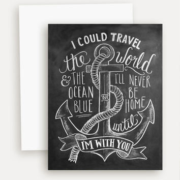 I Could Travel the World Nautical Theme - A2 Note Card