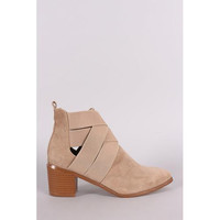 Suede Elasticized Woven Pointy Toe Block Heeled Booties