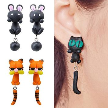 Bluelans New Fashion Women Polymer Clay Cute Animal Cat Bunny Raccoon Tiger Panda Ear Drop Earrings