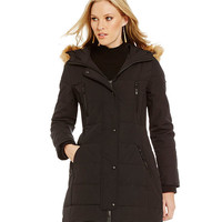 Guess Faux-Fur-Trimmed Hooded Puffer Coat | Dillards