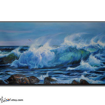 Landscape Oil Painting, Original Art, Seascape Painting, Large Canvas Art, Canvas Painting, Ocean Art, Horizontal Painting
