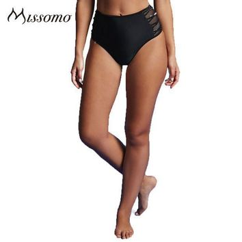 Missomo Fashion 2017 Solid Black Women Panties High Waist Side Hollow Out Mesh Up Sheer Briefs Lady's New Design Underpants