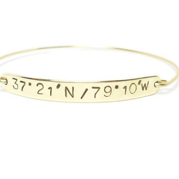 Personalized LATITUDE & LONGITUDE Gold Bangle, Double Sided, Custom Bracelet, Personalized Gold Jewelry, Engraved Date or Coordinates