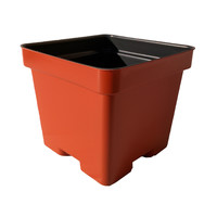 4.5 Inch Square Press Fit Plastic Flower Pots (Terracotta)